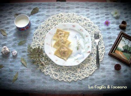 Ravioli con pesto di castagne e salsa all'arancia