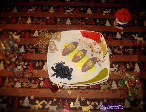 Quenelles vegane di cavolo viola e frutta secca con salsa allo zafferano